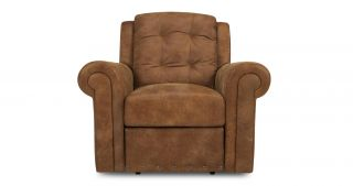 DFS Majesty Tan Ranch Arm Chair Manual Recliner Leather Chair