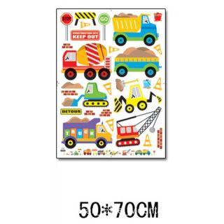 Cartoon Construction Site Trucks Road Signs Wall Sticker Decal