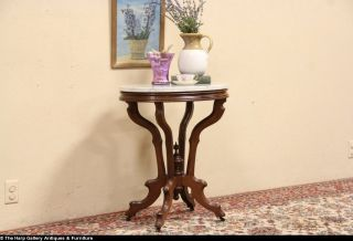 Victorian Antique Marble Top 1880 Parlor Lamp Table