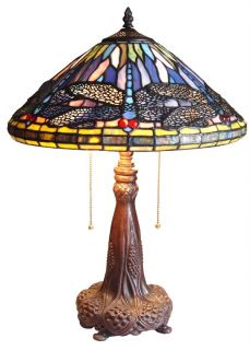 Dragonfly Plump Base Stained Glass Table Accent Lamp