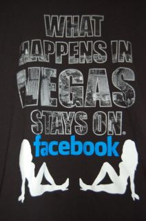 What Happens in Vegas Stays on Facebook XL T Shirt Hangover Las Vegas Tee