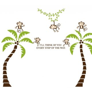 Think of You Coconut Tree Monkey Removable Wall Sticker Decal