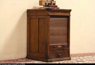 Hamilton 1900 Antique Oak Rolltop Printer File Cabinet