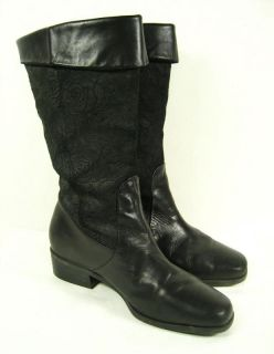 Women's Markon Suela Black Embossed Leather Western Fashion Cowgirl Boots Sz 9 5