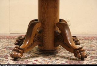 Clawfoot Round Oak 1900 Antique Dining Table 2 Leaves