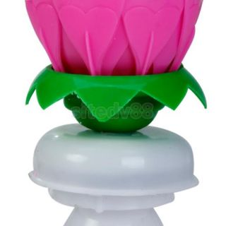 Pink Music Lotus Flower Rotating Birthday Candle Light