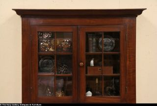 1860 Country Antique Walnut Bookcase China Cabinet