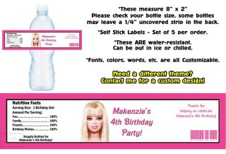 Barbie Mermaid Tale Printed Water Bottle Labels Birthday Party Favors