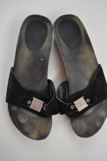 Chanel CC Wood Clogs Dr Scholls Black Sandals Women Shoes Suede Slides Size 42