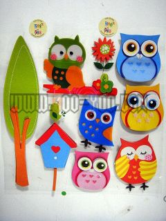 Chipboard PVC Sticker RoomMates Cute Owl Tree Peel Stick 3D Wall Decal Kindergar