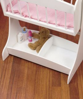 White Wooden Rocking Baby Doll Cradle w Mobile Holds American Girl Dolls Play