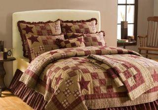 Star Patch Queen Bedding Set Quilt Shams Bedskirt 4pc