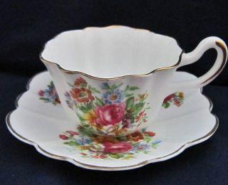 Royal Stuart Spencer Stevenson Demitasse Floral Bouquet Bone China Teacup Set
