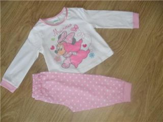 BNWT Disney Minnie Mouse Baby Pink and White Long Pyjamas