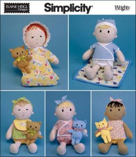 """Baby Rag Doll Cat Bear Simplicity 15"""" Clothing Sewing Pattern"""