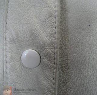 Vtg 80s Peter Caruso Cream Leather Coat Bomber Jacket Dolman Sleeve Western H38