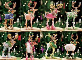 Patience Brewster Krinkles Dash Away Mini Santa Reindeer Christmas Ornament Set