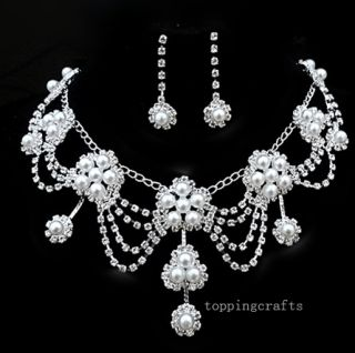 Swarovski Crystal Pearl Bridal Fashion Jewelry Set Necklace Earrings 0024D Hot