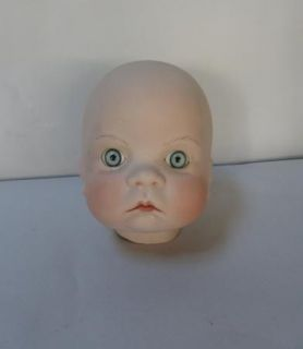 Bisque Baby Doll Closed Head Blue Eyes Child Hand Painted Lips Cheeks Eyelashes