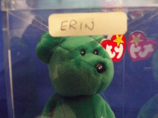 "Ty Beanie Babies Original ""Erin"" Bear with Display Case NMWT 1997"