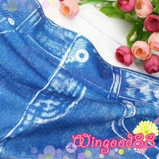 Women Spandex Blue Denim Look Faux Jean Stretch Slim Skinny Leggings Tights Pant