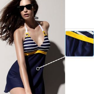 Sexy One Piece Dress Cover Bikini Blue Stripe Navy Style Swimsuit Bathing Suit