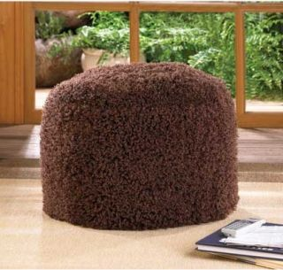 1 Chestnut Ottoman Pouf Fuzzy Brown Footstool Furniture Cozy Unique Decor New