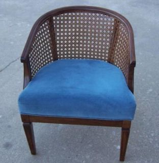 ... Vintage Mid Century Cane Back Barrel Chair With Blue Upholstered Seat  ...