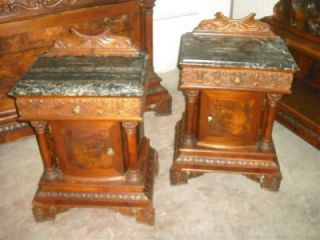 Antique Italian Marble Top Walnut Night Stands 11IT108C