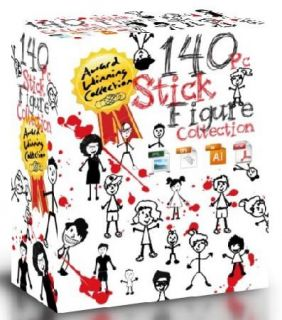 140pc Stick People Vector Clipart Great for Vinyl Cutter T Shirt Press Ect