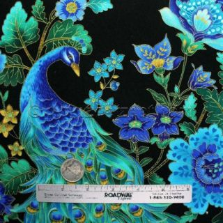 Peacocks Plume Black Gold Metallic Etching Peacock Cotton Quilt Fabric