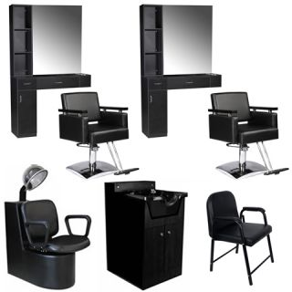 Beauty Salon Equipment Styling Station Chair Dryer Shampoo Cabinet Package DP 33