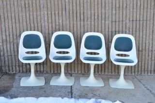 4 Vtg Mid Century Modern Arkal Space Age Tulip Style Dining Room Chairs Retro