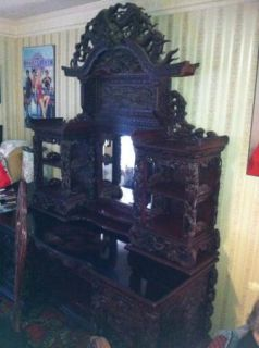 Antique 19th Century Collectable Chinese Rosewood Furniture Table Chairs Buffet