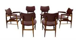 Set 6 Mid Century Modern Walnut Dining Chairs Finn Juhl Style Thonet