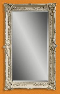 Floor Mirror in Floral Frame Antique White Rub Finish ID 16823