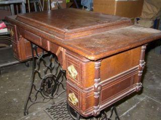 Antique Singer Sphinx Treadle Sewing Machine Comple