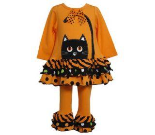 Bonnie Jean Girls Halloween Black Orange Cat Tunic Ruffles Dress Pant Set 4 6X