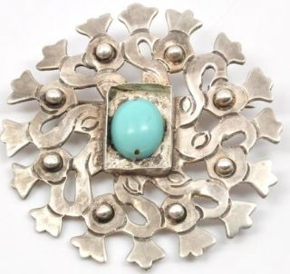 Vintage Taxco Mexico 980 Sterling Silver Brooch with Blue Stone