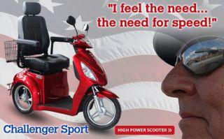 Challenger Sport Electric Mobility Scooter Heavy Duty Fast Trike 950 Watt Motor