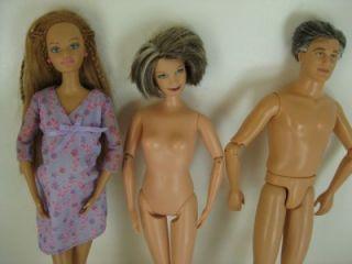 Lot of Barbie Happy Family Dolls Grandpa Grandma Baby Midge w Belly