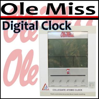 Mississippi Ole Miss Collegiate Digital Atomic Clock
