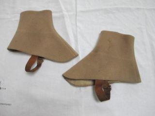 Antique Edwardian Men's Khaki Felt Leather Boot Spats Gaiters C1910