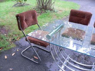 Vintage Modern Italian Art Deco Chrome Dining Room Table 4 Tufted Velour Chairs