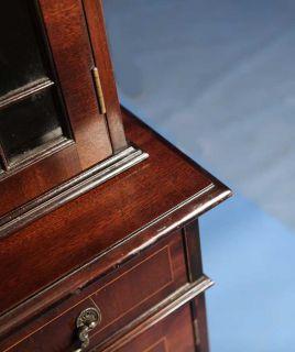 Antique Style Mahogany English Bookcase Breakfront China Cabinet Shelf