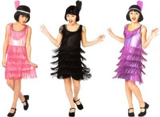 Flapper Girl Costume Roaring 20s Halloween Child New Purple L 10 12