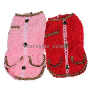 Winer Dog Cat Clothes Pet Puppy Sweater Hoodie Apparel Lady Small Coat Red Pink
