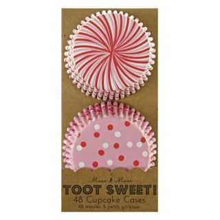 TOOT Sweet Pink White Stripe Girls Birthday Party Pack 48 Cupcake Cases