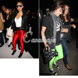 Sexy Women Girl Candy Fluorescence Color Shiny Elasticity Leggings Pants Tights