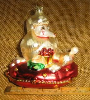White Poodle Dog on Red Pillow Blown Glass Ornament New